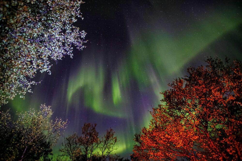 L'aurora polare nella regione di Murmansk, Russia