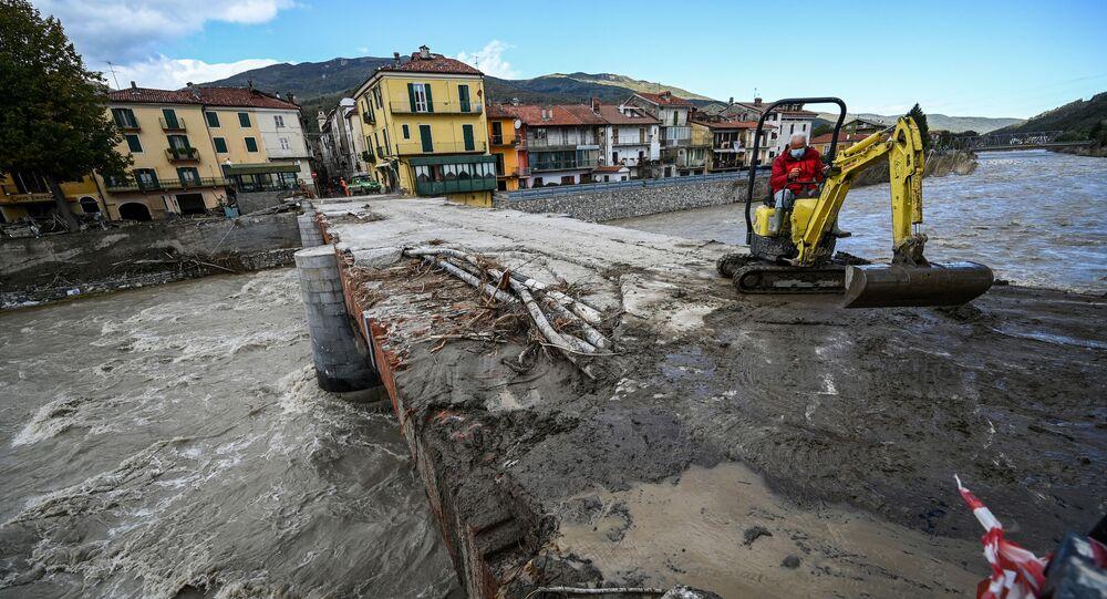 Danni dopo l'alluvione a Garessio, Italia