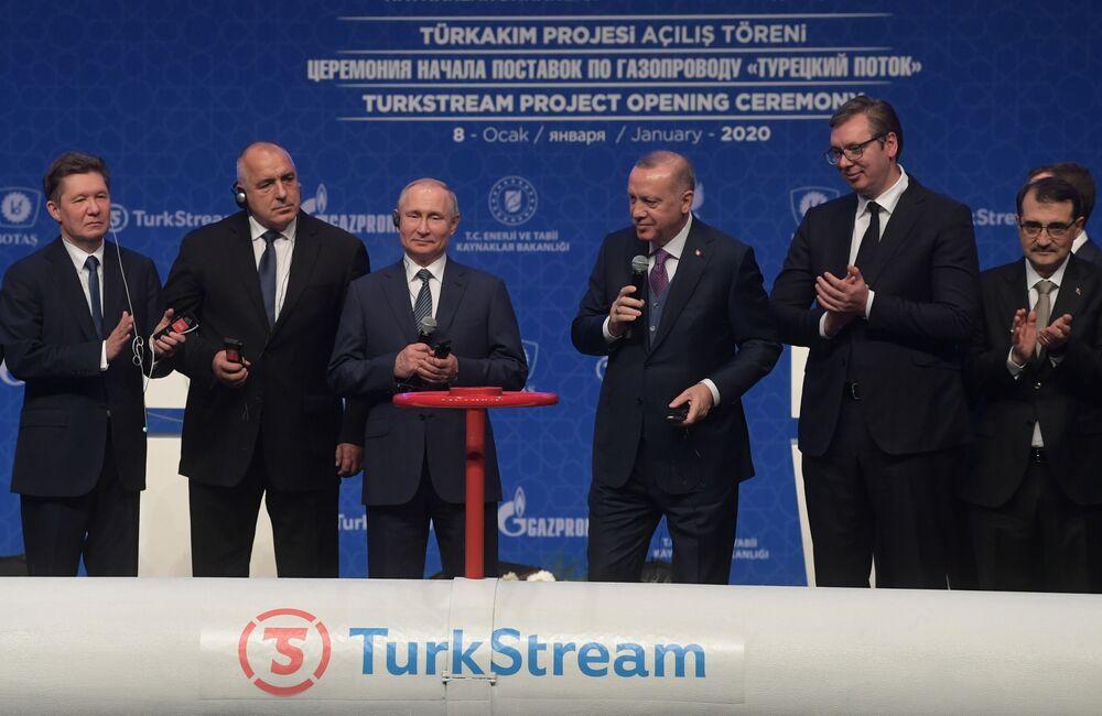 Il presidente russo Vladimir Putin e il presidente turco Recep Tayyip Erdogan alla cerimonia ufficiale di apertura del gasdotto Turkish Stream a Istanbul