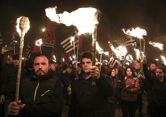 Militanti del partito grego di estrema destra Alba Dorata