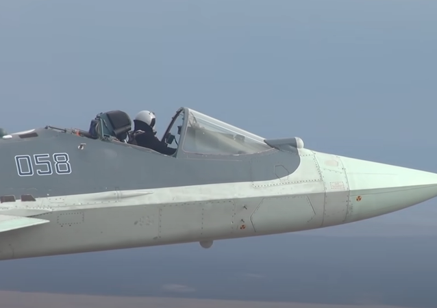 Sukhoi Su-57 fighter jet flying without a canopy during testing.