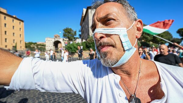 Manifestazione No Mask, Roma - Sputnik Italia