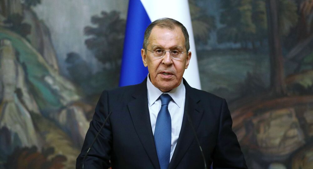 Russian Foreign Minister Sergey Lavrov delivers a joint statement after trilateral talks between Russia, Armenia and Azerbaijan over Nagorno-Karabakh ceasefire, 10 October 2020