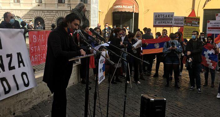 Intervento al sit in per la Pace e per la condanna delle agressioni contro l'Artsakh e l'Armenia