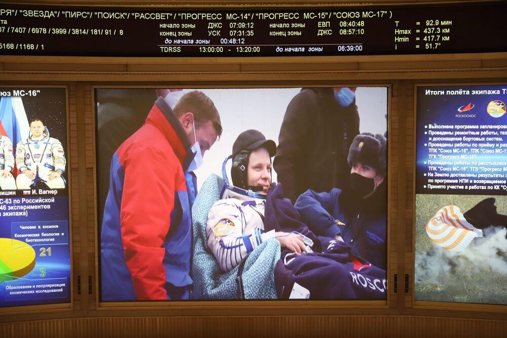 L'atterraggio sulla terra è avvenuto a bordo di una navicella Soyuz MS-15, a circa 150 chilometri a sud-est della città kazaka di Zhezkazgan, in Kazakistan.