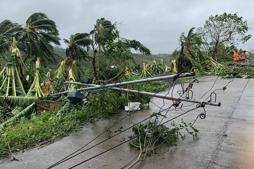 Un albero caduto nel corso a causa di una tempesta tropicale nelle Filippine.