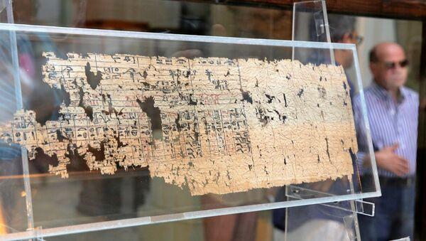 Un turista guarda il papiro del re Khufu alla mostra di apertura di 'I papiri di Khufu da Wadi al-Jarf' per la prima volta al Museo Egizio del Cairo, Egitto, 14 luglio 2016. - Sputnik Italia