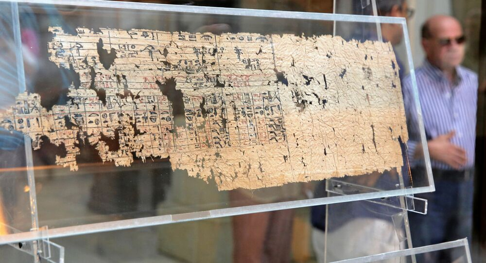 A tourist looks at Papyrus of King Khufu at the opening exhibition of 'The Papyri of Khufu from Wadi al-Jarf' for the first time at the Egyptian Museum in Cairo, Egypt, July 14, 2016.