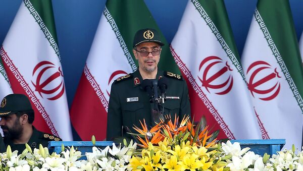 Chief of the General Staff of Iran's Armed Forces, General Mohammad Hossein Bagheri delivers a speech during a military parade marking the 36th anniversary of Iraq's 1980 invasion of Iran, in front of the shrine of late revolutionary founder Ayatollah Khomeini, just outside Tehran, Iran, Wednesday, Sept. 21, 2016 - Sputnik Italia