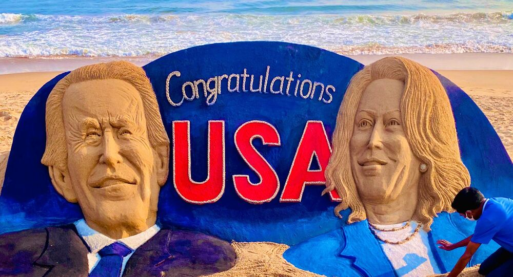 My sandart at Puri beach in India.  For historical win of President-elect,  Joe Biden  and Vice President-elect,  Kamala Harris