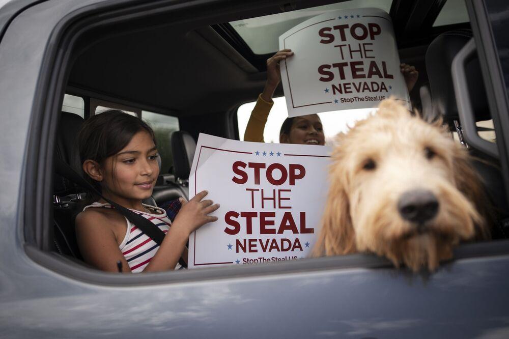 I sostenitori di Donald Trump durante il rally di Las Vegas