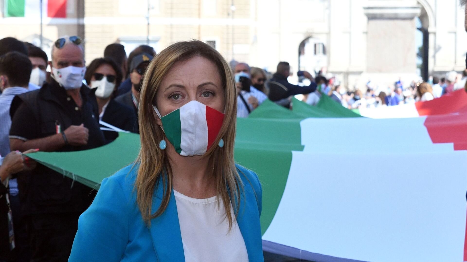 Manifestazione del centro destra con i leader Matteo Salvini, Giorgia Meloni e Antonio Tajani - Sputnik Italia, 1920, 03.06.2021