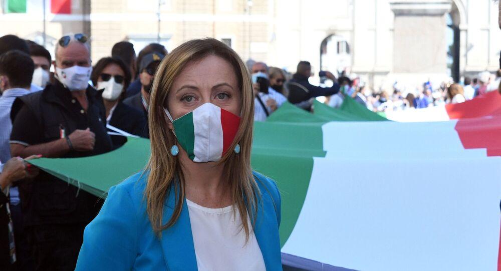 Manifestazione del centro destra con i leader Matteo Salvini Giorgia Meloni e Antonio Tajani