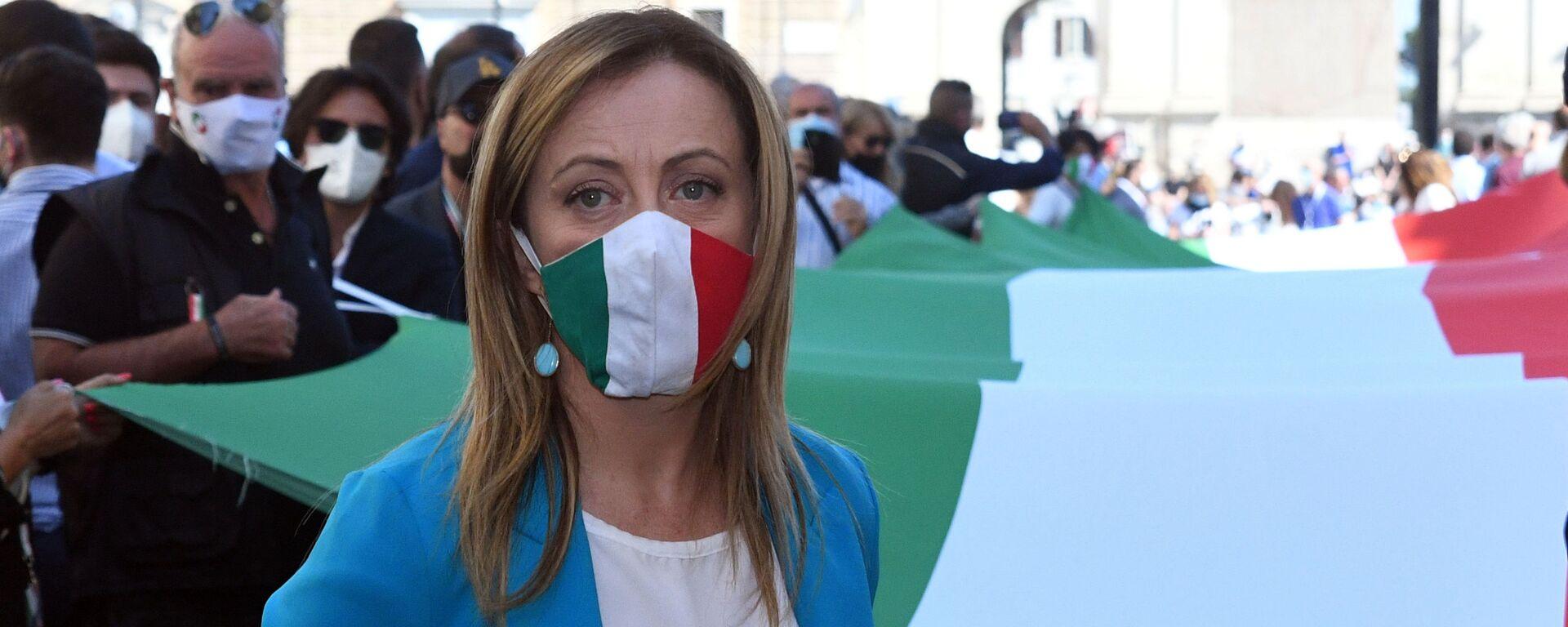 Manifestazione del centro destra con i leader Matteo Salvini, Giorgia Meloni e Antonio Tajani - Sputnik Italia, 1920, 31.01.2021