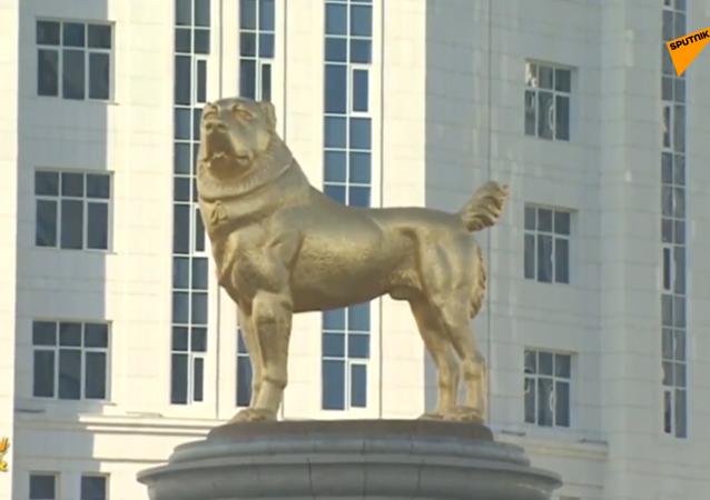 Presidente del Turkmenistan inaugura statua d'oro al cane da pastore dell'Asia centrale