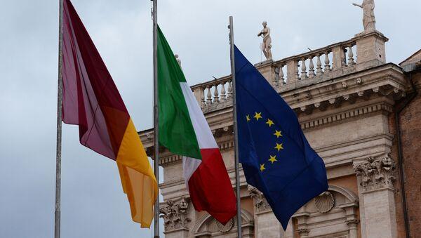 Bandiere di Roma, Italia e Unione Europea - Sputnik Italia
