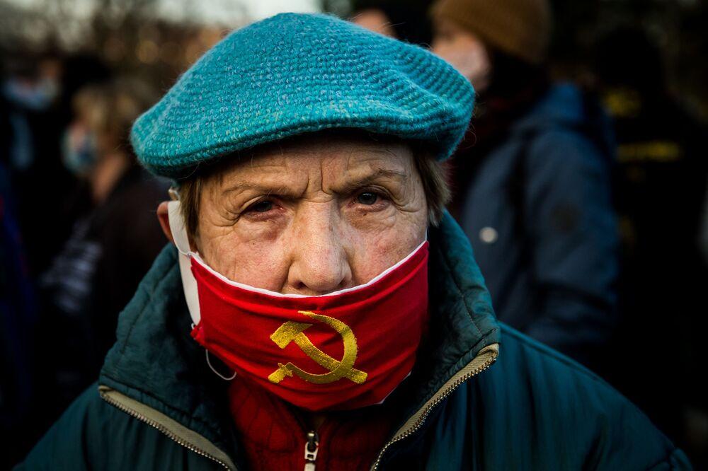 Partecipante a una protesta a Bratislava