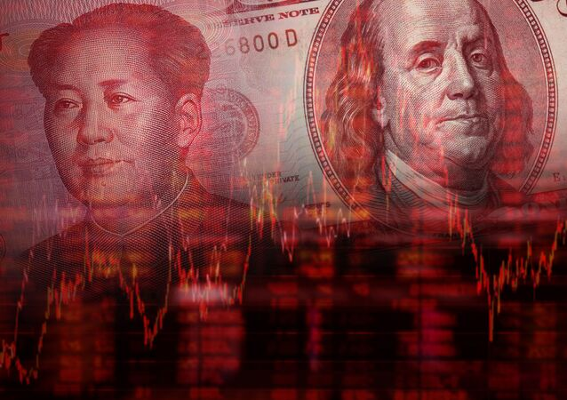 Downtrend stock diagram, Face of Mao Zedong on RMB (Yuan) 100 bill, With Face of Benjamin Franklin from one hundred dollars bill