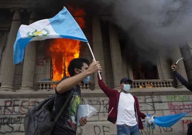 Protestas antigubernamentales en Guatemala, el 21 de noviembre de 2020