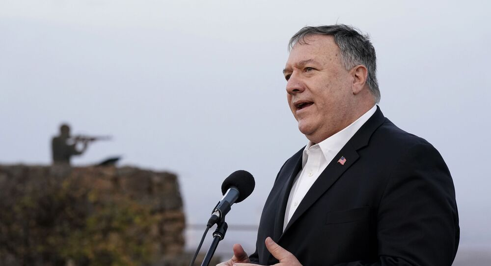 US Secretary of State Mike Pompeo speaks following a security briefing on Mount Bental in the Israeli-annexed Golan Heights, near Merom Golan on the border with Syria, on November 19, 2020.