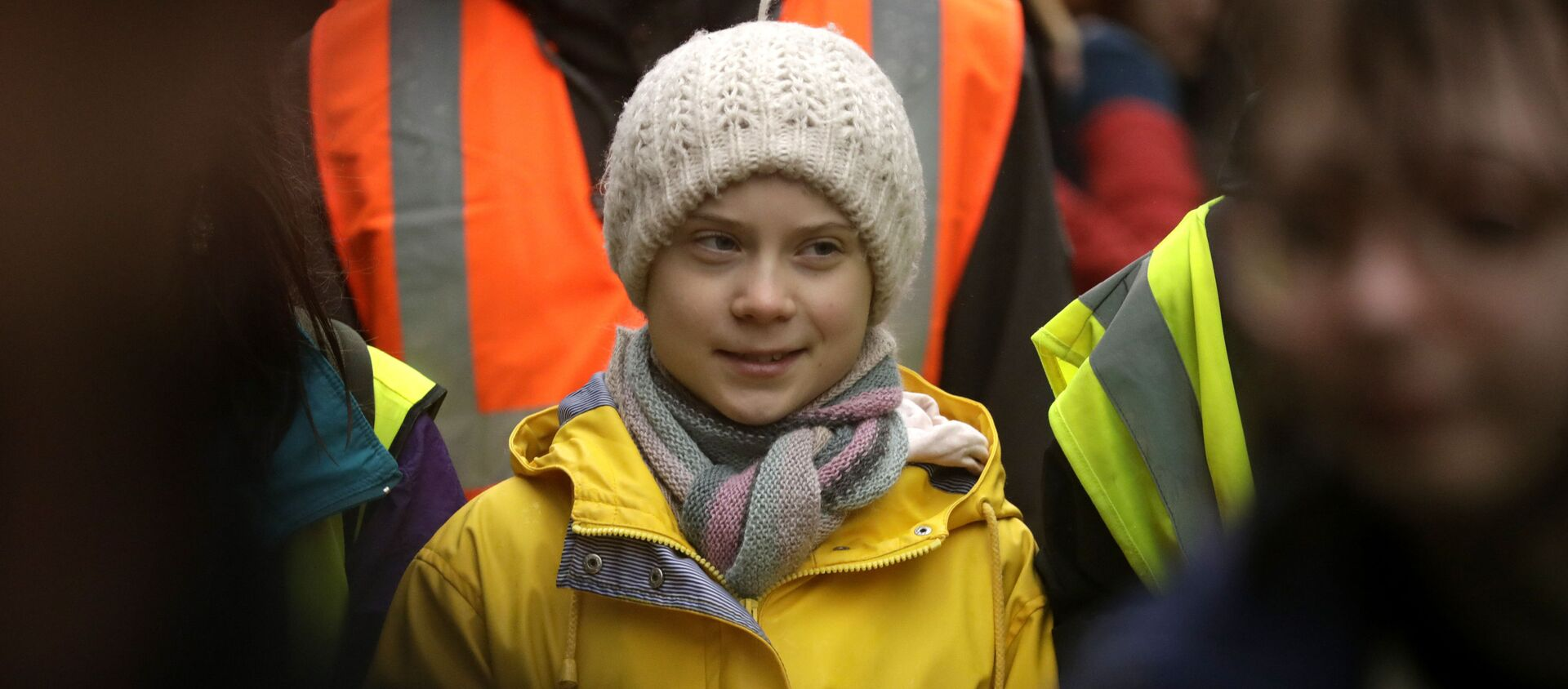 Climate activist Greta Thunberg, from Sweden marches with other demonstrators as she participates in a school strike climate protest in Bristol, south west England, Friday, Feb. 28, 2020. - Sputnik Italia, 1920, 19.04.2021
