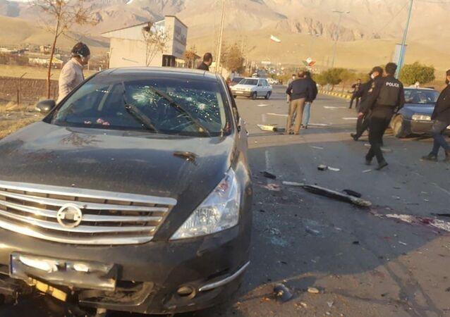 Scena dell'attacco mortale contro fisico nucleare Mohsen Fakhrizadeh vicino Teheran