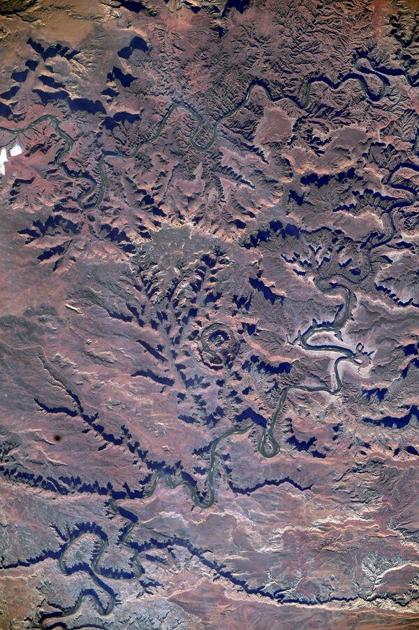 Una foto del Dead Horse State Park nello Utah (Stati Uniti d'America) fatta dallo spazio.  - Sputnik Italia