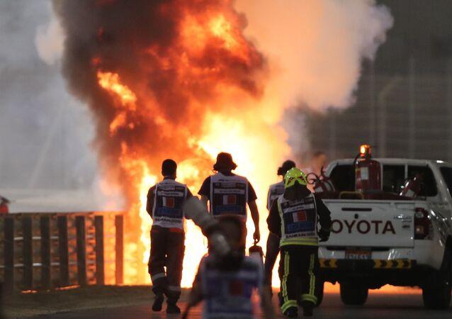Spaventoso incidente a Grosjean