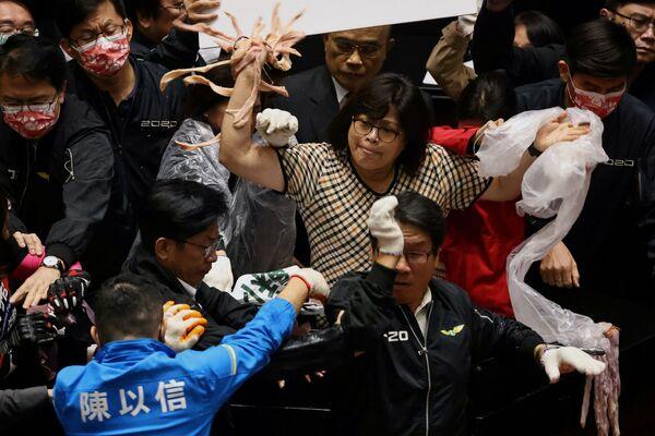 I parlamentari taiwanesi gettano intestini di maiale - Sputnik Italia