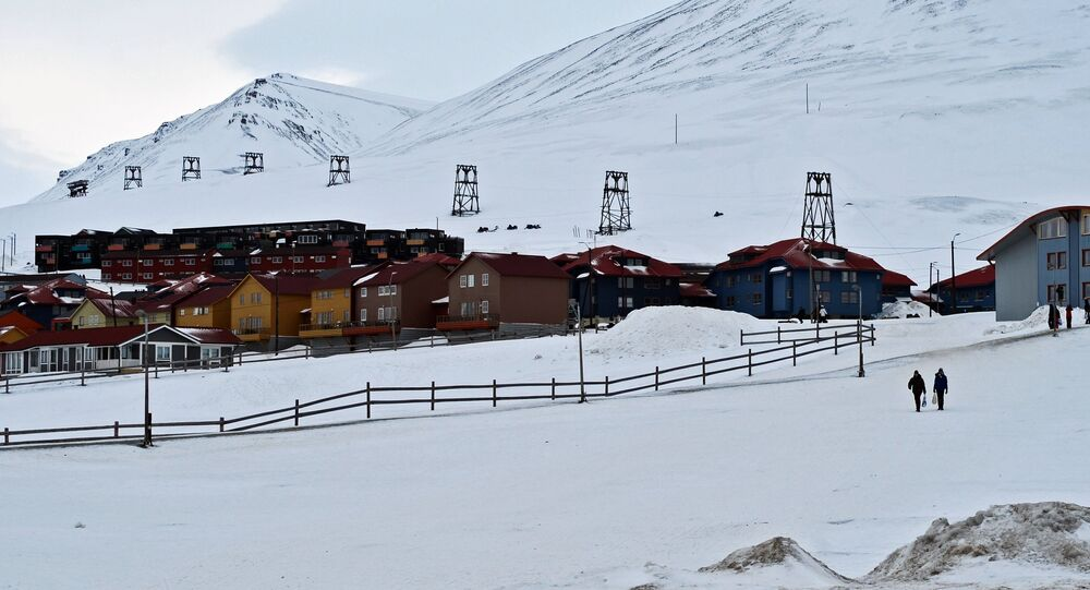 Houses in the Norwegian town of Longyearbyen on the island of West Spitsbergen (Spitsbergen)