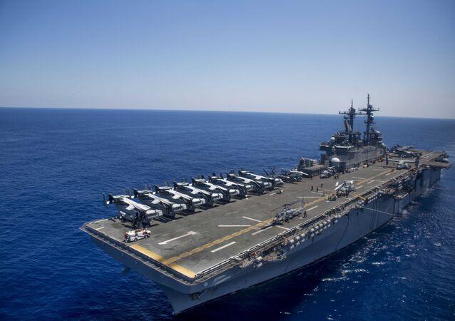 The amphibious assault ship USS Wasp (LHD 1) steams through the Mediterranean Sea.