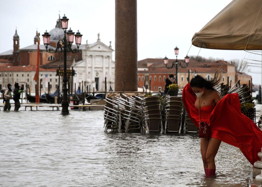 L'allagata Piazza San Marco a Venezia, Italia