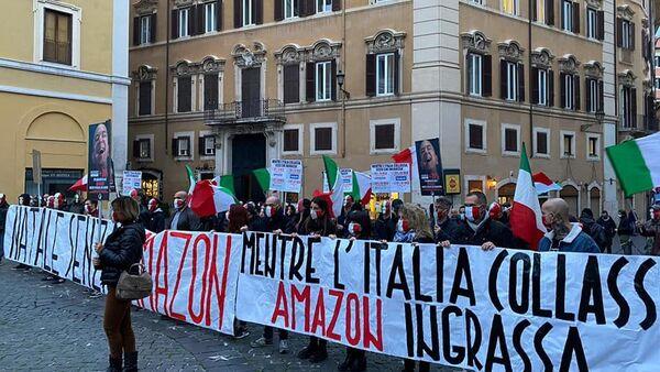 """La manifestazione del movimento""""Mascherine tricolori"""" alla Piazza Montecitorio, Roma. - Sputnik Italia"""