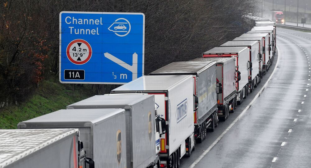 Lorries are parked on the M20 motorway towards Eurotunnel and the Port of Dover, as EU countries impose a travel ban from the UK following the coronavirus disease (COVID-19) outbreak, in Folkestone, Britain, December 21, 2020