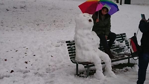 Milano sotto la neve, pupazzo di neve al parco  - Sputnik Italia