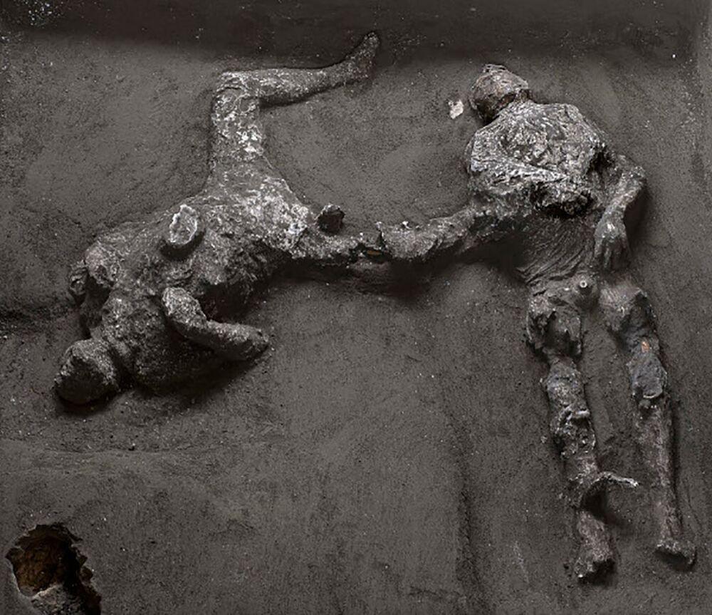 Scoperti due corpi all'interno degli scavi archeologici di Pompei: si tratta di due uomini, un quarantenne avvolto in un mantello di lana e il suo giovane schiavo, rinvenuti nella zona del criptoportico della villa.