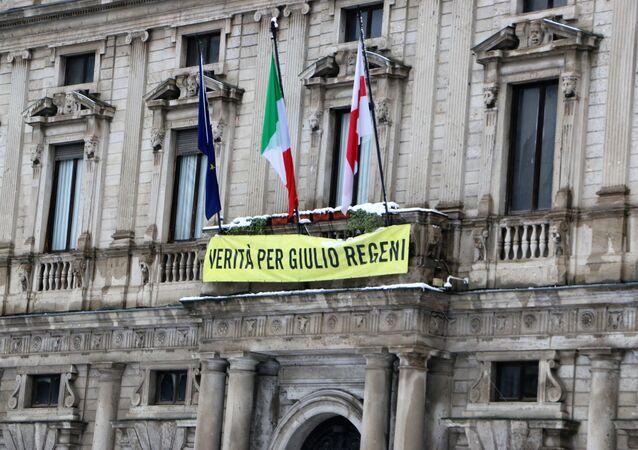 Striscione a sostegno di Giulio Regeni