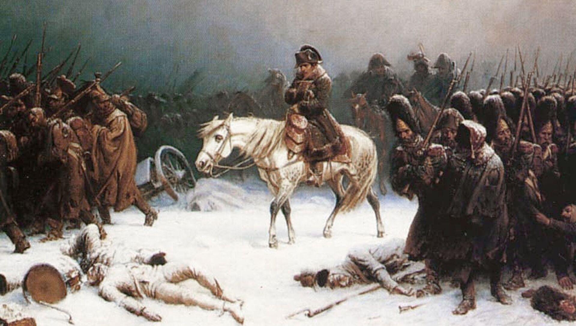 Dipinto la Ritirata di Napoleone Bonaparte dalla Russia, di Adolph Northen - Sputnik Italia, 1920, 05.05.2021