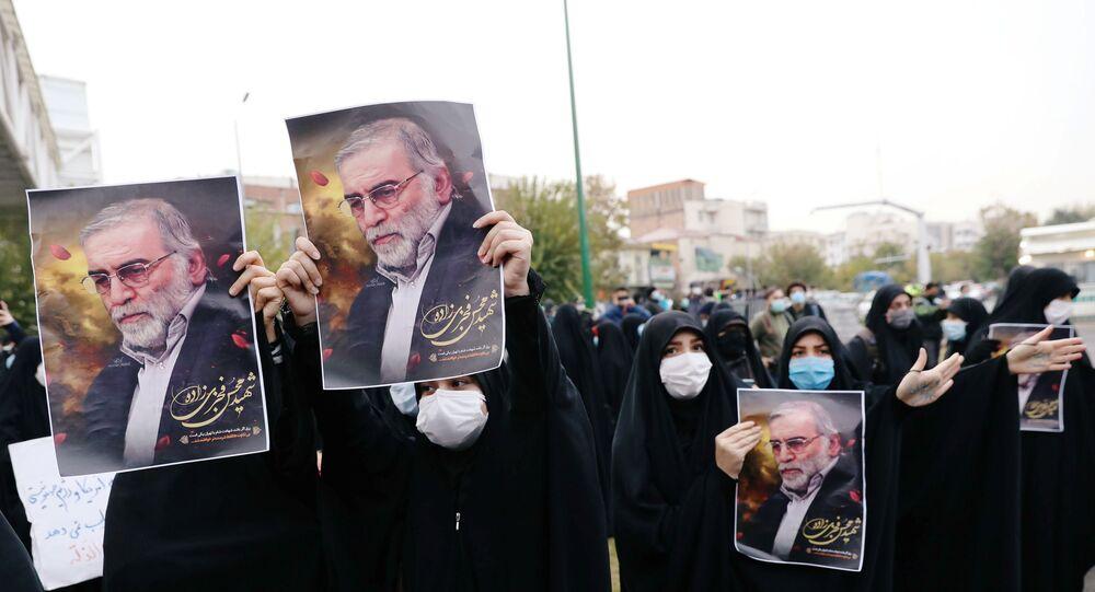 Manifestazione contro assassinio Mohsen Fakhrizadeh