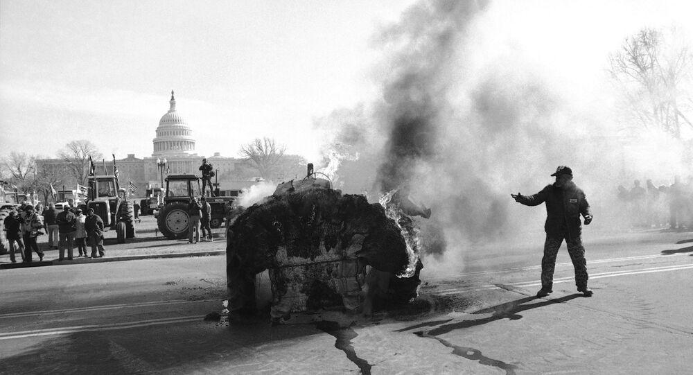 Proteste degli agricoltori a Capitol Hill nel 1979 (foto d'archivio)