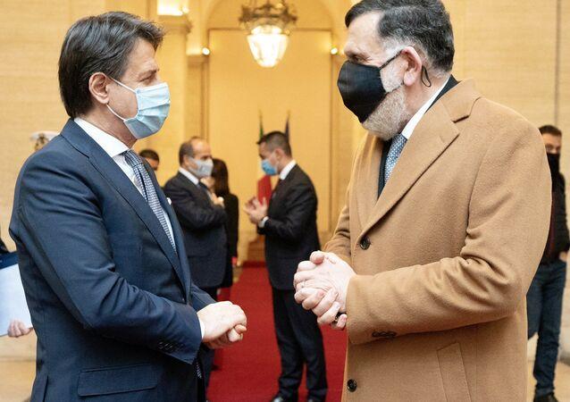 Incontro di Giuseppe Conte con il premier libico al-Serraj a Palazzo Chigi
