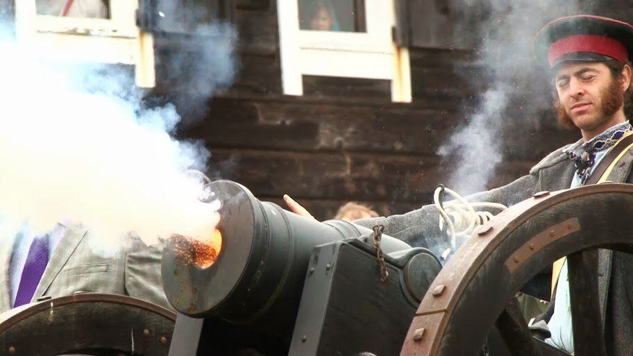 A cannon is fired during the 201st anniversary celebrations at Fort Ross in California.