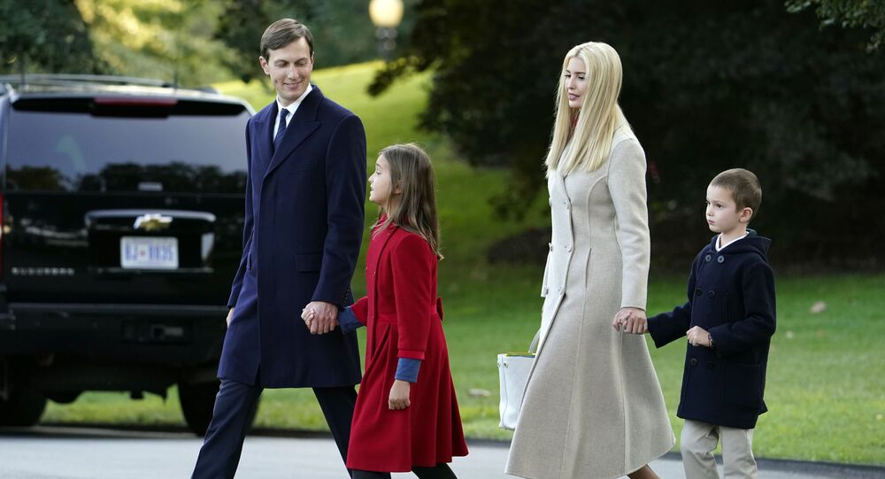 White House adviser Jared Kushner, from left, and daughter Arabella Kushner, walk with his wife Ivanka Trump and their son Joseph as they prepare to board Marine One with President Donald Trump on the South Lawn of the White House, Tuesday, Sept. 22, 2020