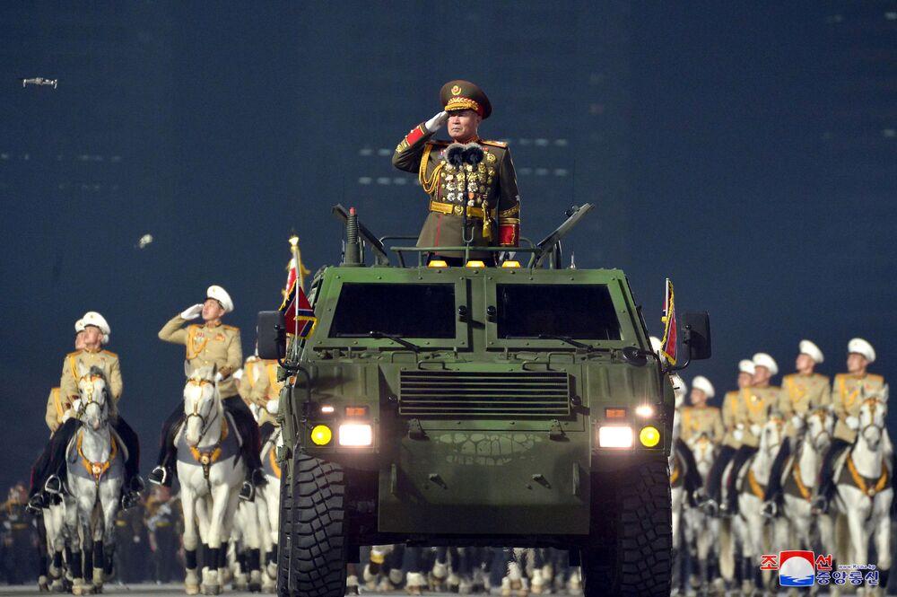 La parata militare in occasione dell'ottavo congresso del Partito del Lavoro di Corea a Pyongyang, Corea del Nord.