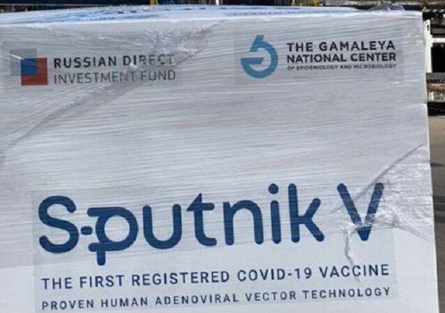 Aereo con vaccino russo Sputnik V in Argentina