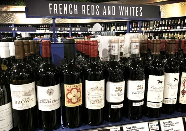 French wines are dislpayed for sale at a supermarket in Los Angeles, California on August 18, 2019