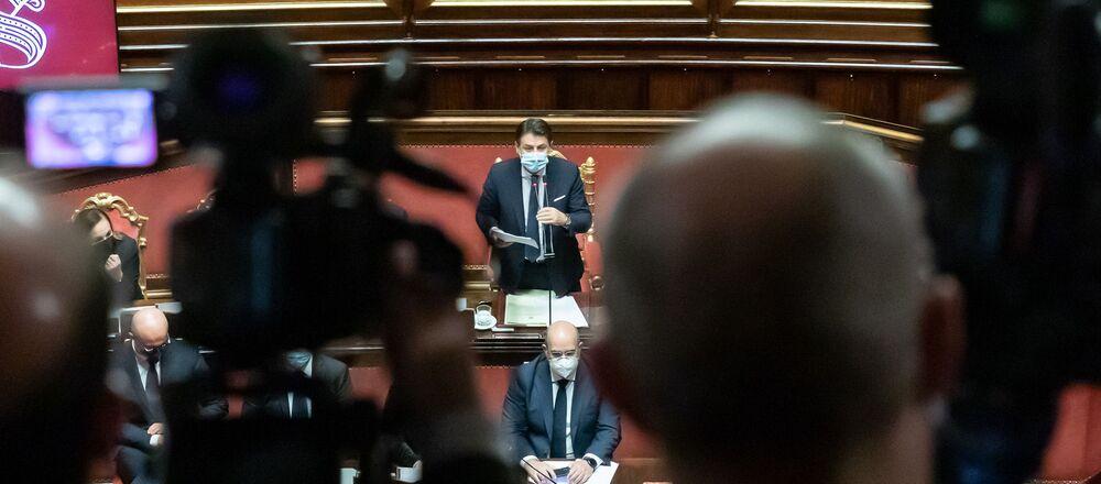 Il premier Conte nell'aula del Senato, il 19 gennaio 2021