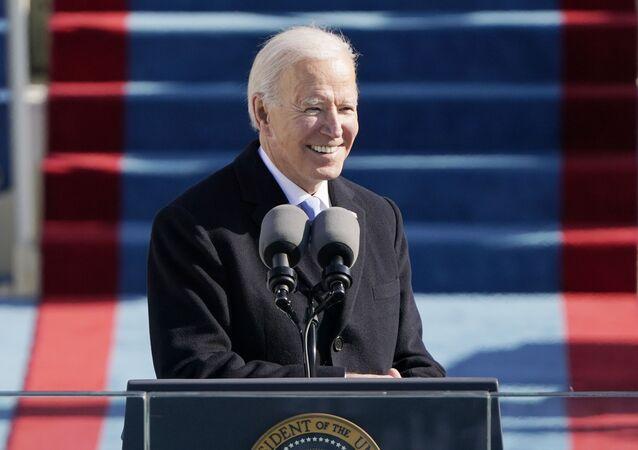Joe Biden interviene durante la sua inaugurazione, il 20 gennaio 2021