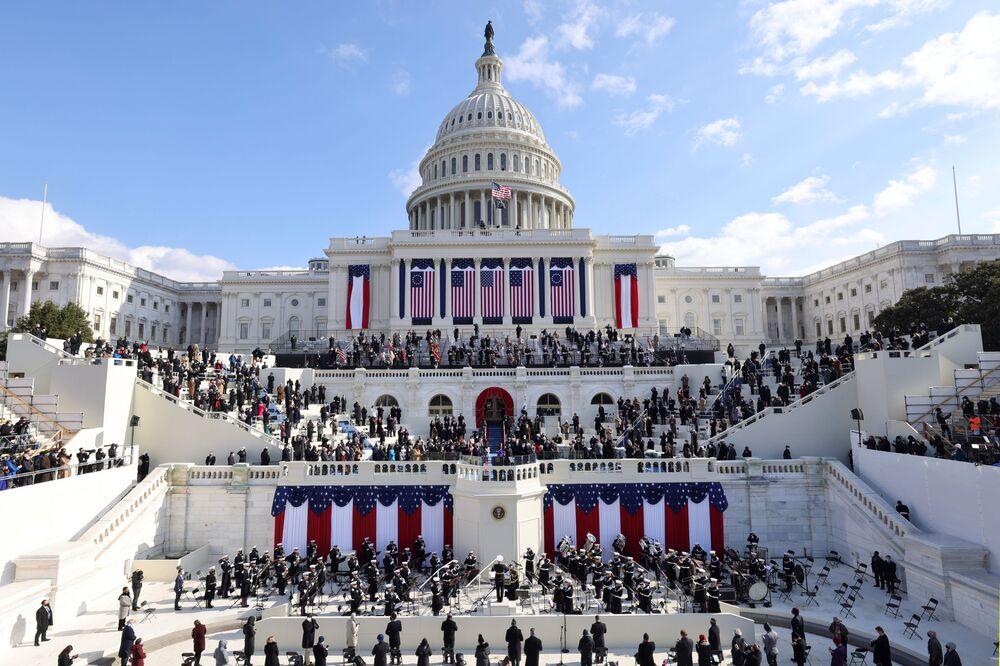 Una vista generale del Campidoglio durante l'inaugurazione di Joe Biden come 46° Presidente degli Stati Uniti a Washington, USA, il 20 gennaio 2021