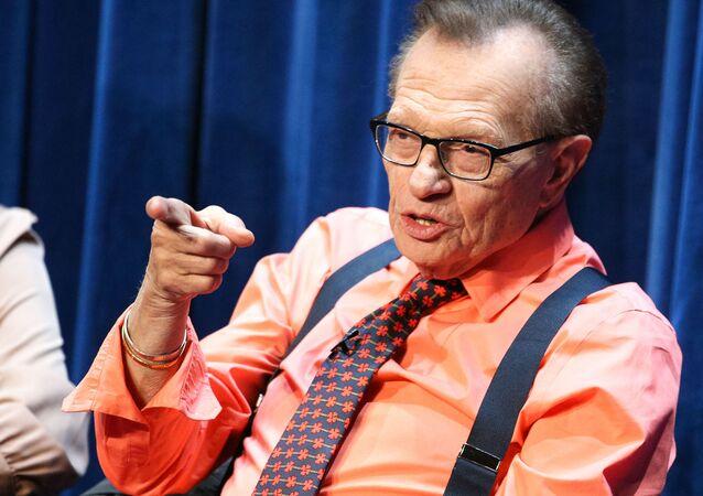 Il conduttore televisivo Larry King, 2014.
